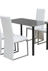 vidaXL Eetkamerset zwart en wit 5-delig