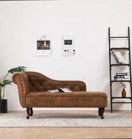 vidaXL Chaise longue kunstsuède bruin