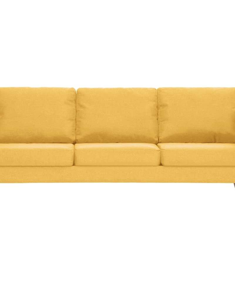 vidaXL 2-delig Bankstel stof geel