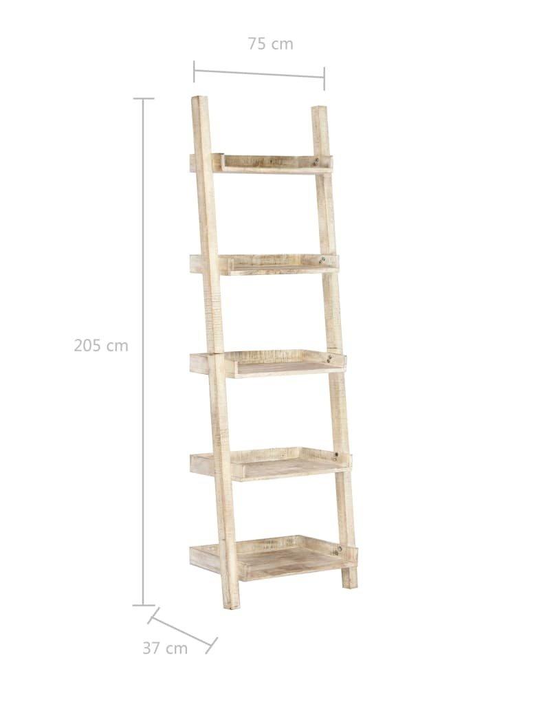 vidaXL Ladderkast 75x37x205 cm massief mangohout wit
