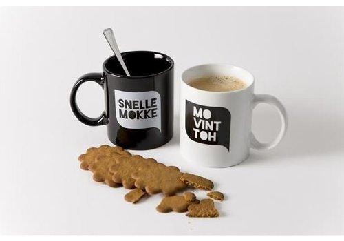 Set van 2 koffiemokken (zwart + wit)