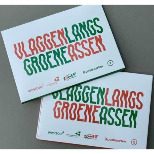 Postkaarten Vlaggen langs groene assen