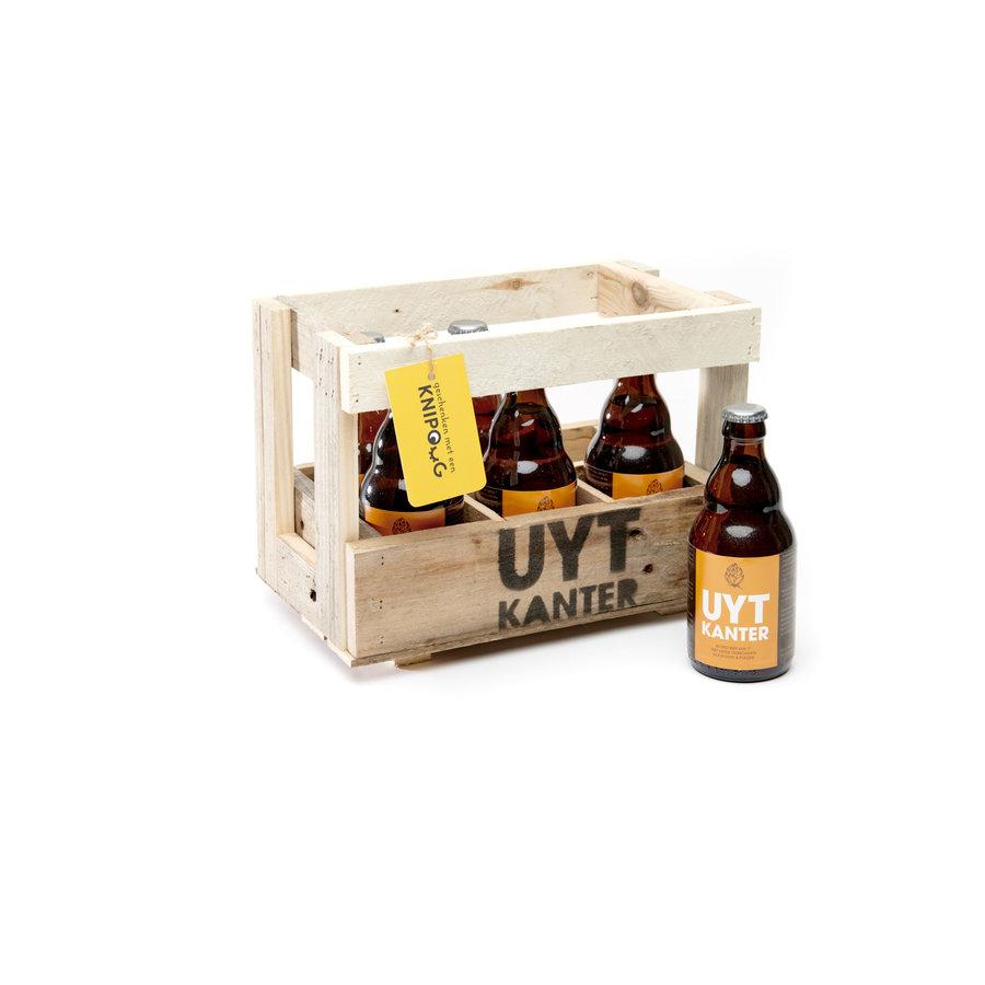 Houten bierbakje met 6 Uytkantertjes-1