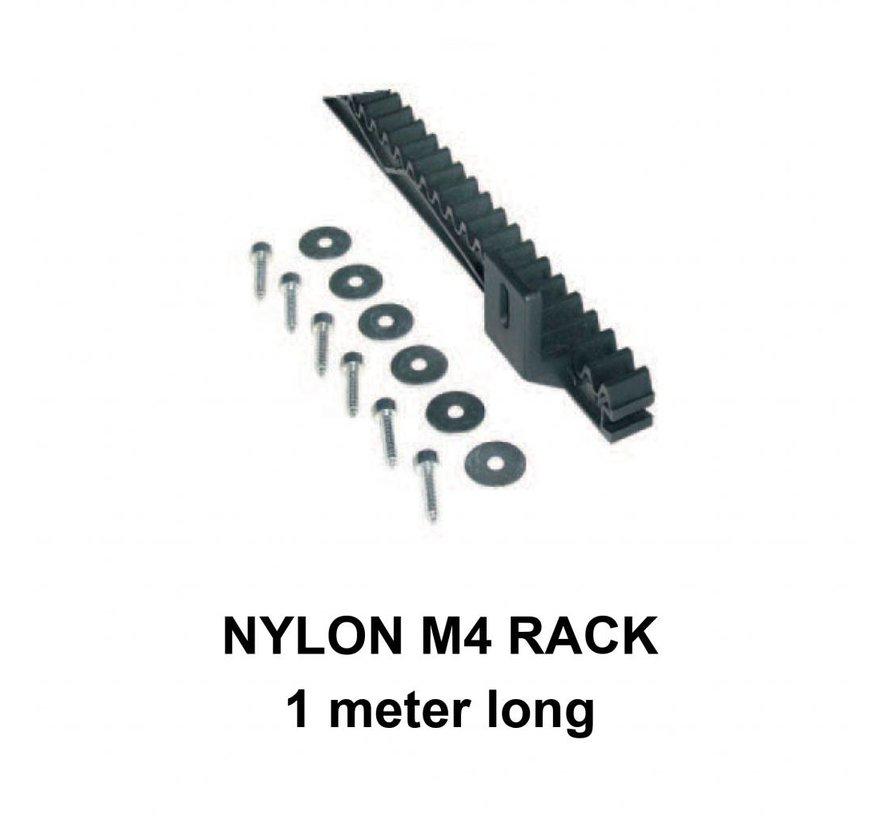 M4 Nylon rack met stalen kern 1 meter lang en schroefbevestiging voor Velos en Moovy