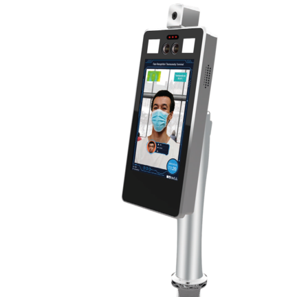 Corona toegangscontrole tester met gezichtsherkenning, temperatuurmeter en maskercontrole