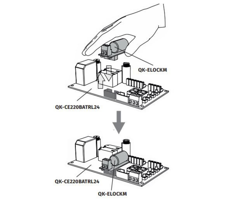 Printplaat QK ELOCKM voor sturing poortslot ELS  met connector