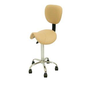Saddle stool beige with backrest