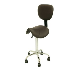Saddle stool brown with backrest