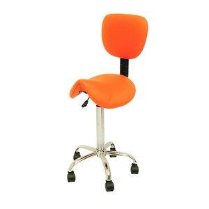 Saddle stool orange with backrest