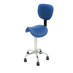 Saddle stool blue with backrest