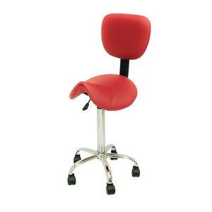 Saddle stool red with backrest