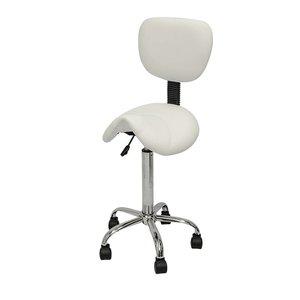 Saddle stool white with backrest