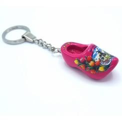Woodenshoe keyhanger 1 shoe Dark Pink
