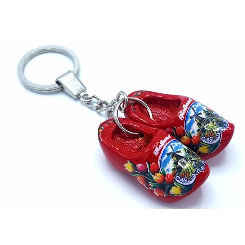 Woodenshoe keyhanger 2 shoes Red