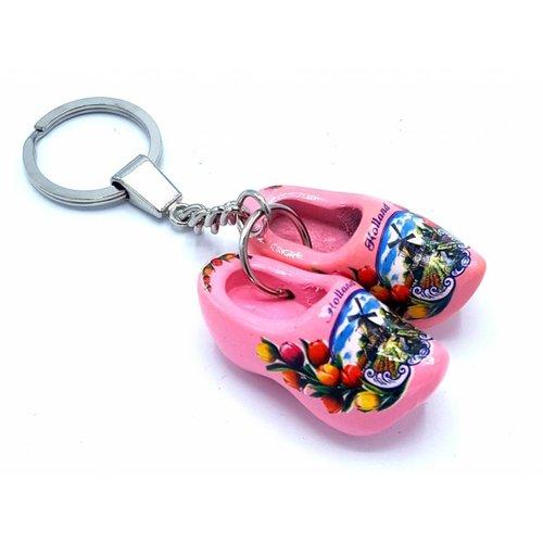 Woodenshoe keyhanger 2 shoes Pink
