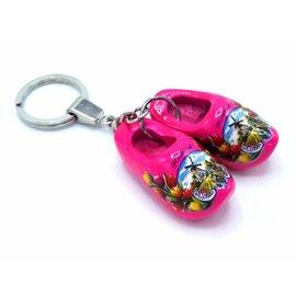 Woodenshoe keyhanger 2 shoes Dark pink