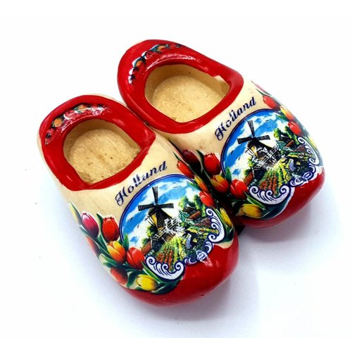 Woodenshoe magnet 5cm Red sole