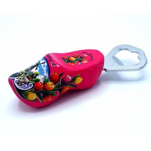Bottle opener clog 8cm Dark Pink
