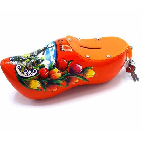 Money bank clog 15cm Orange