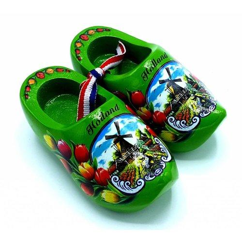 Souvenir woodenshoes 10cm green