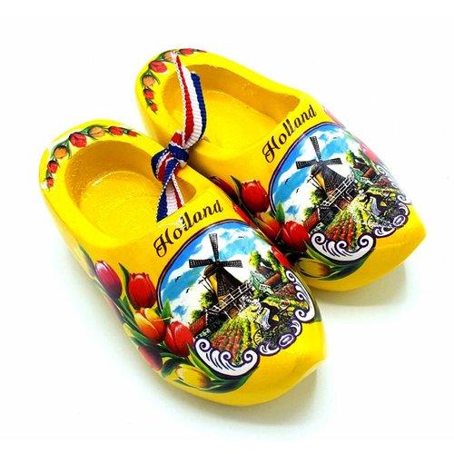 Souvenir woodenshoes 10cm yellow