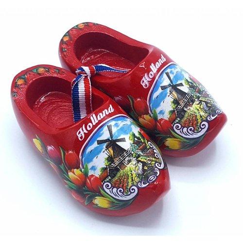 Souvenir woodenshoes 10cm red