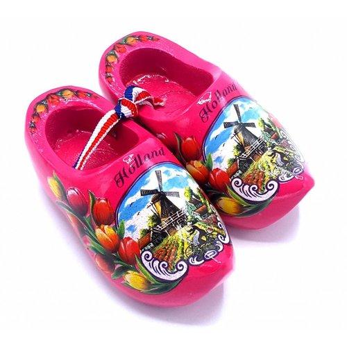 Souvenir woodenshoes 10cm dark pink
