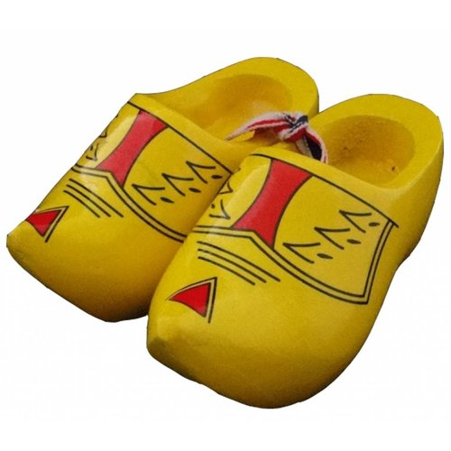 Souvenir woodenshoes 10cm farmer yellow