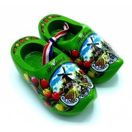 Souvenir woodenshoes 12cm green