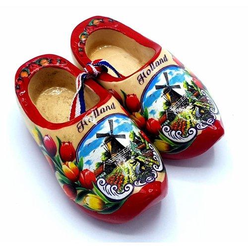 Souvenir woodenshoes 12cm red sole