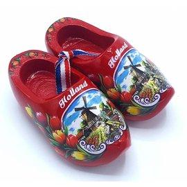 Souvenir woodenshoes 12cm red