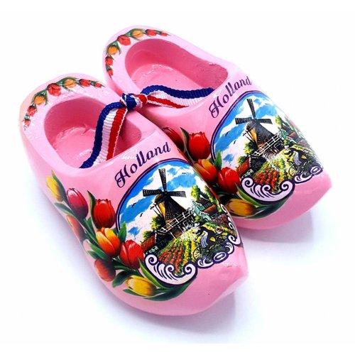 Souvenir woodenshoes 12cm pink