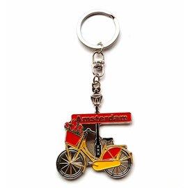 Sleutelhanger Amsterdam fiets geel/rood