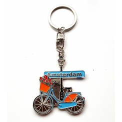 Sleutelhanger Amsterdam fiets lichtblauw
