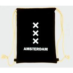 Rugtas katoen Amsterdam XXX zwart
