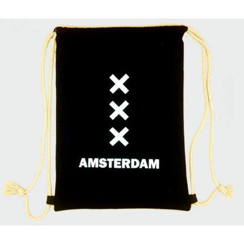 Amstel bags Rugtas katoen Amsterdam XXX zwart