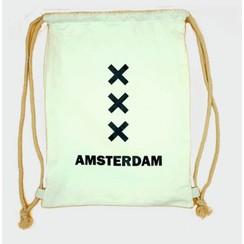 Draw string bag Amsterdam XXX white