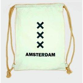 Amstel bags Draw string bag Amsterdam XXX white