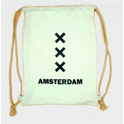 Amstel bags Rugtas katoen Amsterdam XXX wit