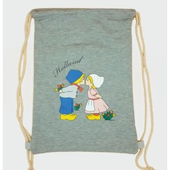 Draw string bag kissing couple gray