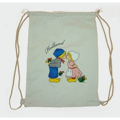 Draw string bag kissing couple white