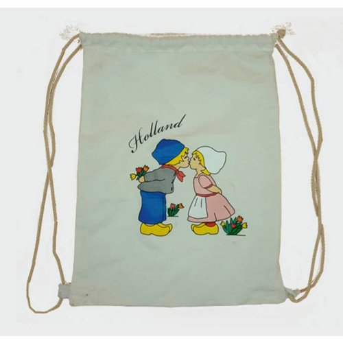 Amstel bags Draw string bag kissing couple white
