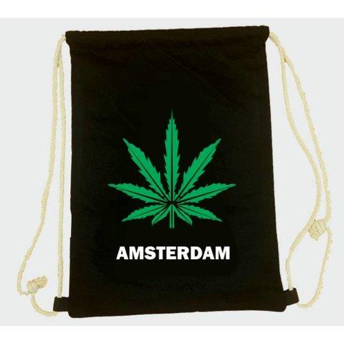 Amstel bags Rugtas katoen Weed zwart