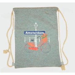 Draw string bag bike with tulips gray