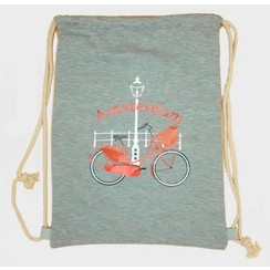 Draw string bag bike gray