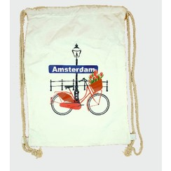 Draw string bag bike with tulips white