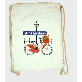 Amstel bags Draw string bag bike with tulips white