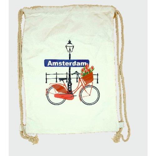 Amstel bags Rugtas katoen Fiets met tulpen wit