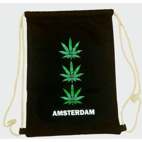 Amstel bags Rugtas katoen 3x weed zwart