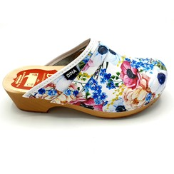DINA Leather clogs BIG FLOWERS